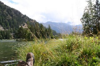 Dave's Feet, with a view of Lac de Champex